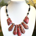Pink SEA SEDIMENT JASPER and Silver Pyrite Beautiful Chic Tribal Necklace.