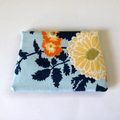 Find a Penny Purse & Button Brooch- Flowers On Blue