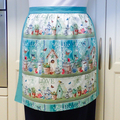 Half Apron Birdhouses -  womens retro vintage lined kitchen  apron