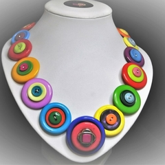 Button necklace - True Colours
