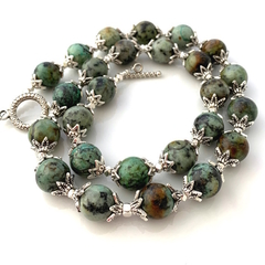 Natural Australian GASPEITE 13mm Gem Beads Earthy Green Necklace.