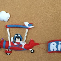 Plane Felt Name Banner with clouds and birds