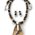 SET of 3: Natural  JASPER 925 Ss, TIGER'S EYE Necklace, Bracelet and Earrings.