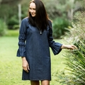 Women's Shift Dress with Elastic 3/4 Sleeves in Linen
