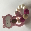Racoon Silicone and birch wood teethers