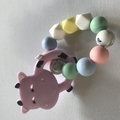 Cow Silicone and birch wood teethers