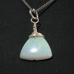 3.33 Carat Trillion Cabochon White Crystal Opal in Sterling Silver setting