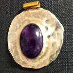 3cm sterling silver pendant with Amethyst Cabuchon
