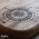 Wood Burnt Compass Camphor Laurel Cutting Board