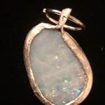 Australian Opal Doublet in fine silver pendant