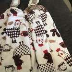 2 double thickness crochet top towels with rooster design