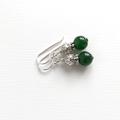Natural Emerald Gemstone & Tibetan Bead Earrings, Unique Gift, Vintage Style