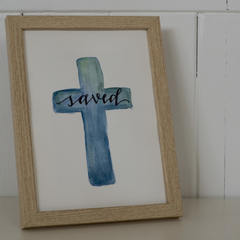 Framed Saved Watercolour Cross FREE POSTAGE