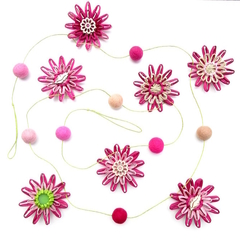 Custom listing for 'Megan' - Flower Felt Ball Hanging Garland - Pink