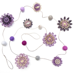 Custom listing for 'Megan' - Flower Felt Ball Hanging Garland - Violet Purple