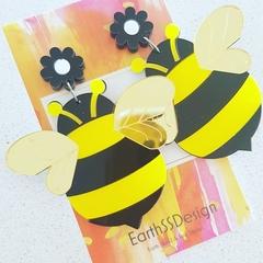 Busy Bees - Acrylic Dangle Earrings