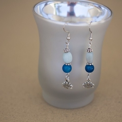 Aquamarine & Blue Agate Gemstone Earrings