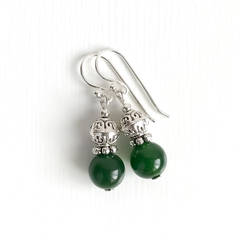 Natural Emerald Gemstone & Tibetan Bead Earrings, Unique Gift, Vintage Style