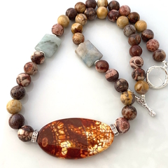 Genuine NOREENA JASPER, Tutankhamen AGATE and AMAZONITE Rustic Necklace.
