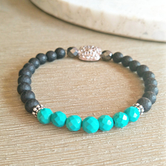 Turquoise & Matte Black, faceted Onyx Gemstone beaded bracelet