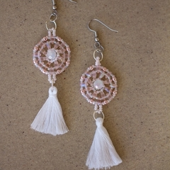 Blush and White Beaded Tassel Earrings