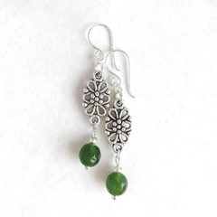 Emerald Gemstone & Tibetan Bead Earrings, Unique Gift, Vintage Style