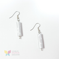 White Pinwheel Paper Bead Earrings