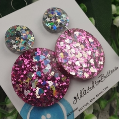 Glitter Dazzlers - Hearts and Stars - Resin - Stud Dangle earrings