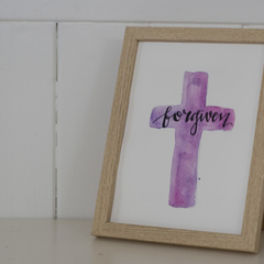Forgiven Watercolour Cross FREE POSTAGE (Pink/Purple Background)