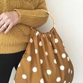 Mustard polka dot hand bag - nappy bag - grocery bag bamboo handles