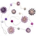 Custom listing for 'Megan' - Flower Felt Ball Hanging Garland - Violet Purple