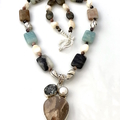 Natural AMAZONITE and PEARLS Necklace and JASPER  Silver Pendant.