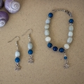 Aquamarine & Blue Agate Gemstone Earrings