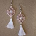 Blush and White Beaded Tassel Earrings