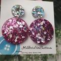 Glitter Dazzlers - Hearts and Stars - Resin - Stud Dangle earrings