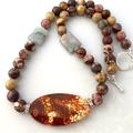 Genuine NOREENA JASPER, Tutankhamen AGATE and AMAZONITE Rustic Necklace.