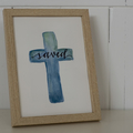 Framed Saved Watercolour Cross FREE POSTAGE (Blue Background)