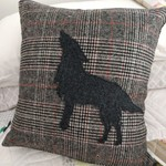 Woollen applique wolf Cushion cover
