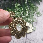 Sparkling Gold Glitter Flower Power Resin - Stud Dangle earrings
