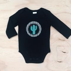 Size 00 - Onesie - Cactus - Black - Retro - Cotton - Baby Boy