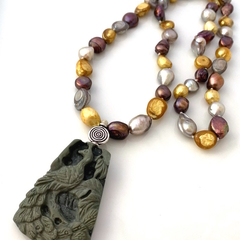 Carved RIBBON JASPER Peacock Pendant, Freshwater PEARLS, ZEN Necklace.