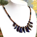 Free-Form Purple-Blue CRYSTALS and Bronze PYRITE Tribal Necklace.