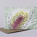 Australian Natives Blank Greeting Card - Grevillea - Bright Pink & Gold