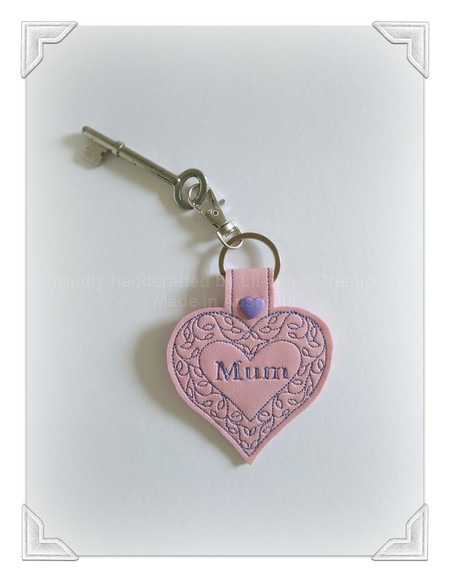 Love heart pink Mum key fob, gift for Mum, key chain, Mothers Day, gift idea