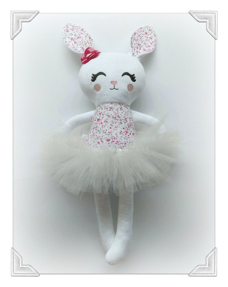 Handmade bunny  rag doll with tutu, rabbit, Easter gift, Dolls and Daydreams