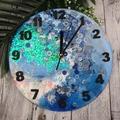 Tick Tock - Cloudy Blue Sparkle Buttons Resin clock - silent motion