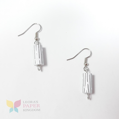 Pinwheel White Paper Bead Earrings