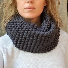 Handmade Australian merino wool loop scarf - Denim Blue