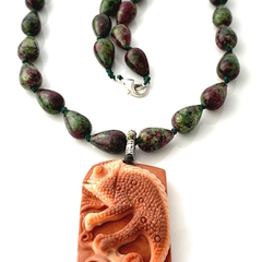 Carved Orange MALACHITE Chamaleon Pendant, RUBY in ZOISITE Knotted Necklace.