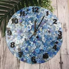 Tick Tock - Ocean of Blue Buttons Clock -  Resin Buttons Clock - silent motion
